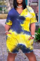 Yellow Fashion Casual Print Tie Dye Basic V Neck Plus Size Romper