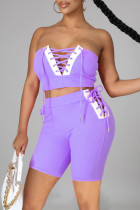 Purple Sexy Casual Solid Split Joint Backless Strap Design Sleeveless Two Pieces