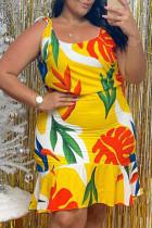 Yellow Sexy Casual Plus Size Print Basic U Neck Vest Dress