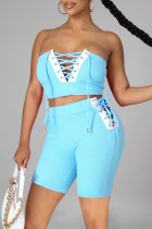 Light Blue Sexy Casual Solid Split Joint Backless Strap Design Sleeveless Two Pieces