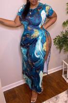 Blue Fashion Casual Plus Size Print Slit Strap Design O Neck Short Sleeve Dress