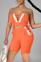 Orange Sexy Casual Solid Split Joint Backless Strap Design Sleeveless Two Pieces