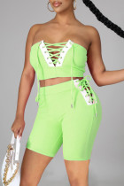 Fluorescent Green Sexy Casual Solid Split Joint Backless Strap Design Sleeveless Two Pieces
