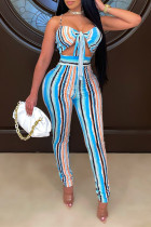 Baby Blue Fashion Sexy Striped Print Backless Spaghetti Strap Sleeveless Two Pieces