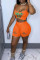 Orange Sexy Casual Letter Print Ripped Spaghetti Strap Sleeveless Two Pieces