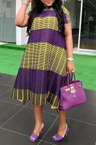 Yellow Purple Fashion Casual Plus Size Patchwork Basic O Neck Short Sleeve Dress