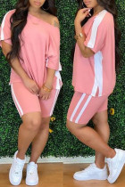 Pink Fashion Casual Solid Split Joint O Neck Short Sleeve Two Pieces