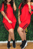 Red Fashion Casual Solid Split Joint O Neck Short Sleeve Two Pieces