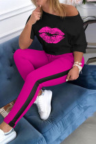Rose Red Fashion Casual Printed T-shirt Pants Set