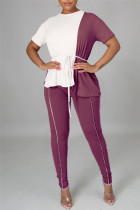 Burgundy Fashion Casual Solid Split Joint O Neck Short Sleeve Two Pieces