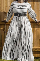 White Fashion Casual Print Without Belt Plus Size Jumpsuits