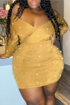 Yellow Sexy Casual Solid Beading V Neck Long Sleeve Plus Size Dresses