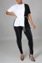 Black Fashion Casual Solid Split Joint O Neck Short Sleeve Two Pieces