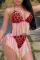 Red Sexy Leopard Tassel Split Joint Swimwears