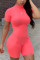 Pink Fashion Casual Solid Short Sleeve O Neck Jumpsuits