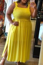 Yellow Fashion Sexy Plus Size Solid Slit Spaghetti Strap Sleeveless Dress