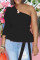 Black Fashion Casual Solid Backless Oblique Collar Tops