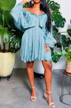 Light Blue Sexy Solid Flounce Off the Shoulder Pleated Dresses