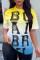 Yellow Fashion Casual Gradual Change Letter Print Basic O Neck T-Shirts