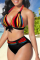 Red Sexy Striped Solid Split Joint Swimwears