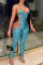 Light Blue Sexy Print Hollowed Out Backless V Neck Skinny Jumpsuits