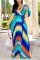 Multicolor Fashion Sexy Printed Chiffon Dress