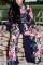 Dark Blue Fashion Print High Waist Wide Leg Two-Piece Suit