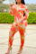 Tangerine Red Sexy Print Split Joint V Neck Harlan Jumpsuits