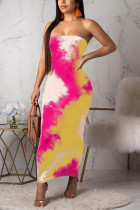 Yellow  Fashion Sexy Off The Shoulder Sleeveless Wrapped chest Slim Dress Ankle-Length Print Prin