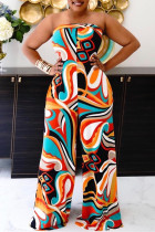 Multicolor Sexy Casual Print Backless Strapless Regular Jumpsuits