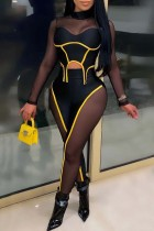 Yellow Fashion Sexy Patchwork See-through Half A Turtleneck Long Sleeve Two Pieces