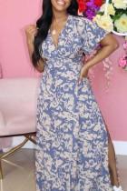 Blue Fashion Casual Print Slit V Neck Short Sleeve Dress