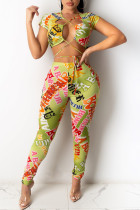 Green Fashion Sexy Letter Print Hollowed Out V Neck Short Sleeve Two Pieces
