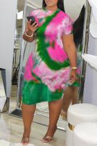 Purple Fashion Casual Regular Sleeve Short Sleeve O Neck Pencil Skirt Knee Length Print Tie Dye Dresses