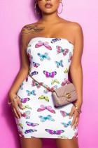 White Sexy Fashion Print Strapless Tight Dress
