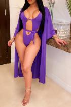 Purple Sexy Solid Hollowed Out Split Joint Swimwears