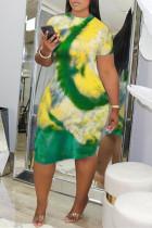 Yellow Fashion Casual Regular Sleeve Short Sleeve O Neck Pencil Skirt Knee Length Print Tie Dye Dresses