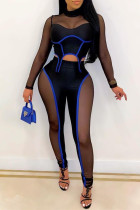 Blue Fashion Sexy Patchwork See-through Half A Turtleneck Long Sleeve Two Pieces