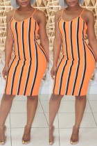 Orange Sexy Casual Striped Print Backless Sling Dress