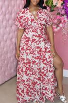 Red Fashion Casual Print Slit V Neck Short Sleeve Dress