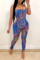 Blue Fashion Sexy Print Backless Strapless Skinny Jumpsuits