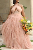 Pink Sexy Solid Hollowed Out Backless Halter Evening Dress