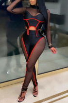 Red Fashion Sexy Patchwork See-through Half A Turtleneck Long Sleeve Two Pieces