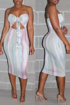 Multicolor Fashion Sexy Print Hollowed Out Backless Strapless Sleeveless Dress