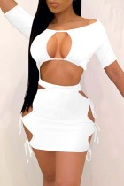 White Fashion Sexy Solid Hollowed Out Strap Design O Neck Short Sleeve Two Pieces