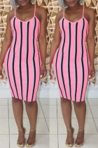 Pink Sexy Casual Striped Print Backless Sling Dress