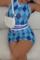 Blue Sexy Casual Print Basic V Neck Sleeveless Two Pieces