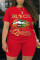 Red Fashion Active Casual O Neck Letter Lips Print Plus Size
