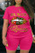 rose red Fashion Active Casual O Neck Letter Lips Print Plus Size