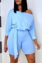Light Blue Fashion Casual Solid one word collar Jumpsuits